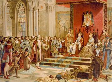 Cristoph Colomb Kral ve Kraliçe'nin Önünde