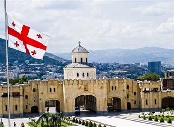 Tiflis'te Gürcistan Bayrağı